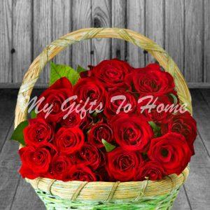 2 Dozen Roses In Basket