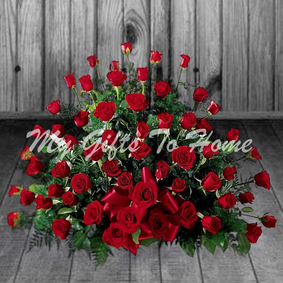 4 Dozen Red Roses Basket