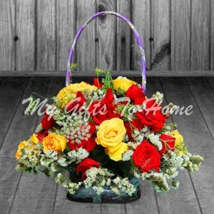 Mix Roses In Round Basket