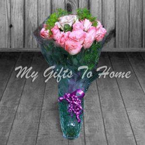 Pink Roses In Crystal Vase