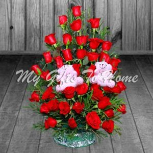 Red Roses Basket with Small Teddy