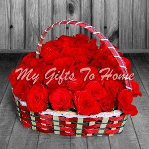Red Roses In Heart Shape Basket