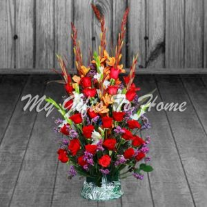 Red Roses and Glads  Basket