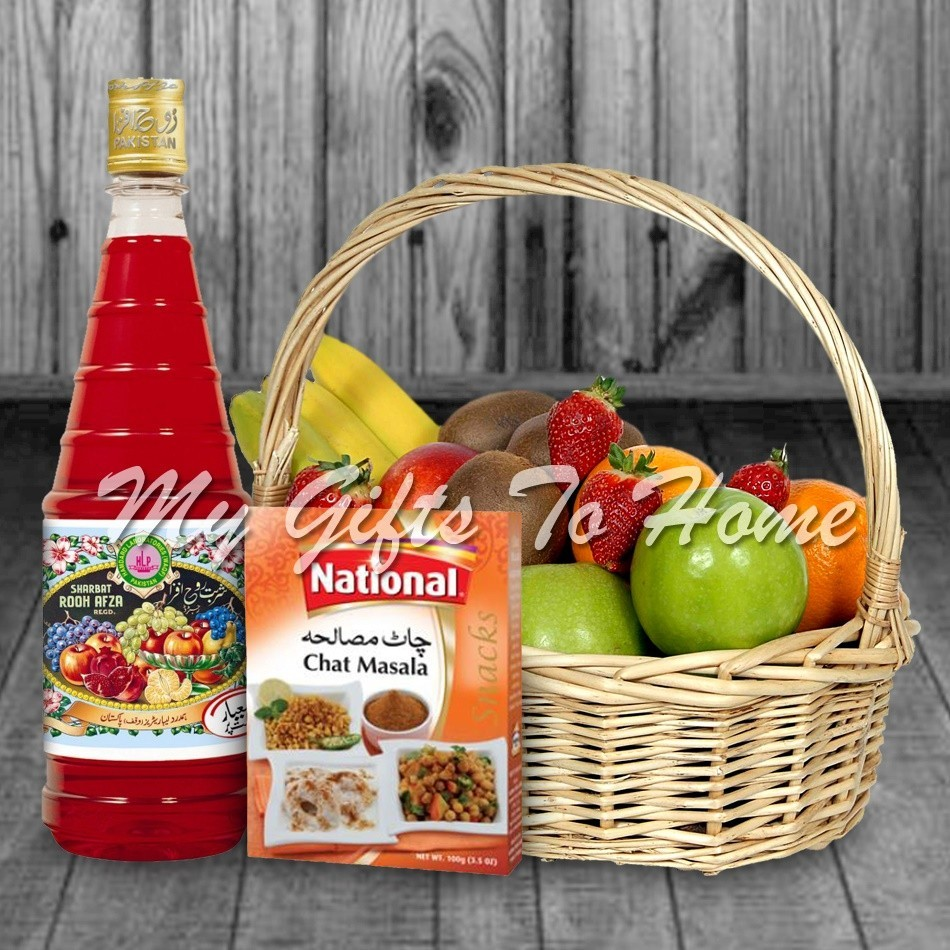 Chat Pata Rooh Afza Fruit Basket