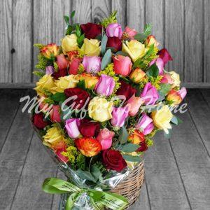 Colorful Roses Basket