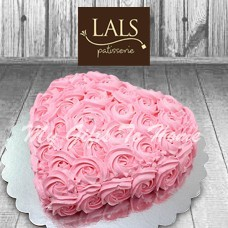 Heart Shape Pink Rosettes Cake From Lals